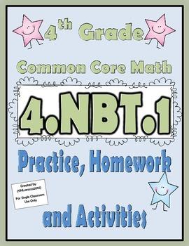 4.NBT.1 Practice, Homework, and Activities 4th Grade Common Core Math