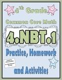 4.NBT.1 Practice, Homework, and Activities 4th Grade Commo