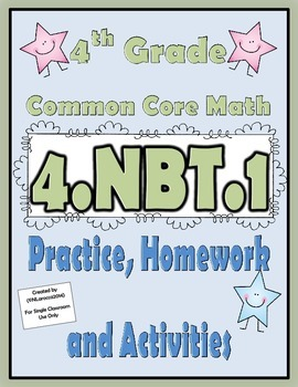 4.NBT.1 Practice, Homework, and Activities 4th Grade Commo