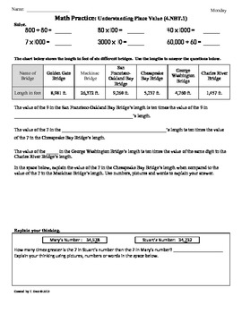 4.NBT.1)Understanding Place Value: 4th Grade Common Core Worksheets ...