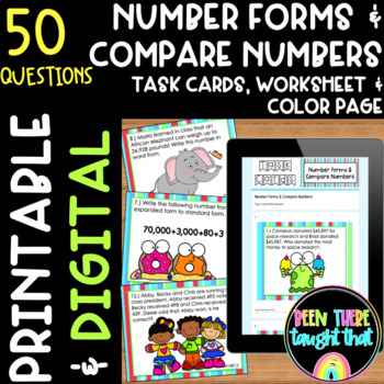 4.NBT.2 Expanded, Word and Standard Form, Compare Numbers Task Cards