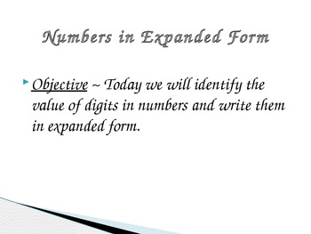 4.NBT.2 Expanded form PPT and Independent work