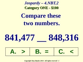 4.NBT.2 Jeopardy Game 4th Grade Math - Compare Two Multi-Digit Numbers