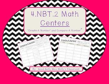 """4.NBT.2 Math Centers-""""Create-A-Number"""" and """"Compare-A-Number"""""""