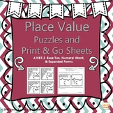 4.NBT.2 PLACE VALUE PUZZLES AND PRINT & GO SHEETS
