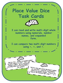 4.NBT.2 Place Value Dice Task Cards