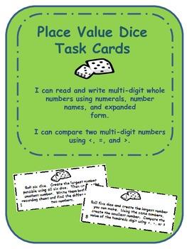4.NBT.2 Place Value Dice Task Cards