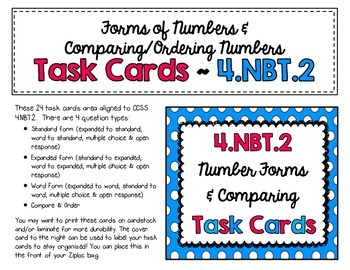 4.NBT.2 Task Cards: Standard, Expanded, Word Form & Comparing/Ordering Numbers