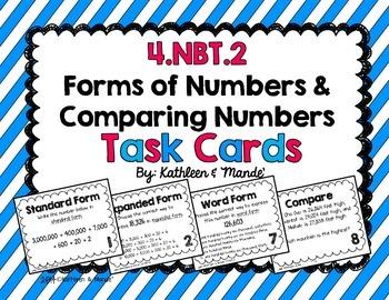 4.NBT.2 Task Cards: Standard, Expanded, Word Form & Compar