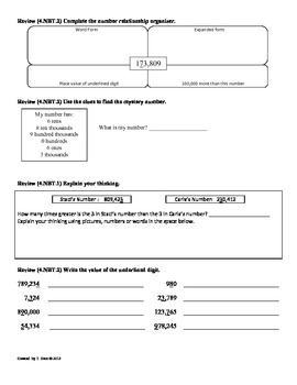 (4.NBT.3) Round Multi-Digit Whole Numbers:4th Grade Common Core Math Worksheets
