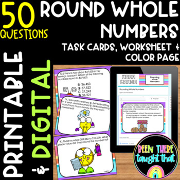 Rounding Task Cards, Worksheet and Coloring Sheet