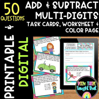 4.NBT.4 Adding & Subtracting Task Cards, Worksheet & Coloring Page
