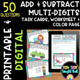 Adding & Subtracting Multi-Digits Task Cards, Worksheet & Coloring Page