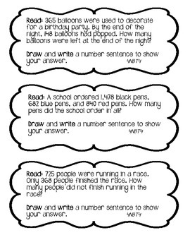 4NBT4 Addition and Subtraction Journal Prompts (Set of 6)