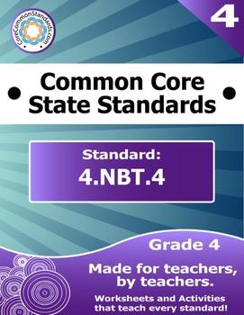 4.NBT.4 Fourth Grade Common Core Bundle - Worksheet, Activity, Poster, Assessmen