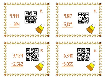 4.NBT.4 Multi-Digit Subtraction QR Code Task Cards