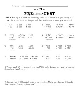4.NBT.4 Pre-test & Post-test by Mrs Kuznickis Teacher Store | TpT