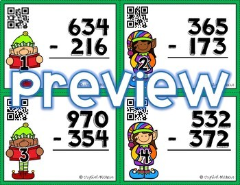 4NBT4 Subtracting with Regrouping: Multidigit Numbers *QR* MATH TASK CARDS