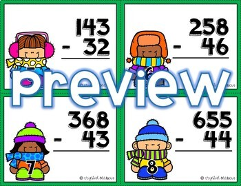 4NBT4 Subtraction without Regrouping: Multidigit Numbers *QR* MATH TASK CARDS