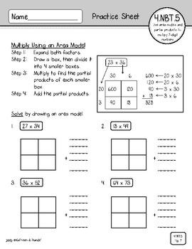 Multiplication Arrays Worksheets Area Model Decimal Grade 4 Math ...