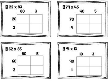 4.NBT.5- 2 Digit by 2 Digit Area Model Task Cards