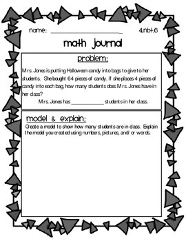 4.NBT.5 & 4.NBT.6 Common Core Math Journals