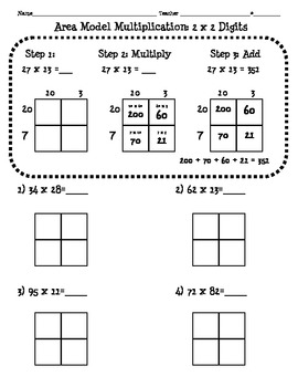 4.NBT.5 Area Model Multiplication Worksheet (2 digit x 2 digit) | TpT