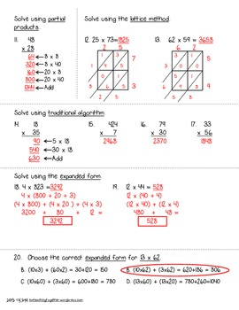 4.NBT.5 Assessment: Area Model, Lattice, Partial Products, Distributive