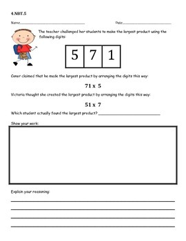 4.NBT.5 Common Core Aligned Math Warm Ups, Performance Tasks, or Assessments