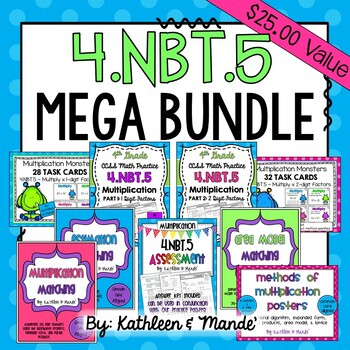 4.NBT.5 MEGA Bundle: Practice, Assessment, Posters, Matching Cards