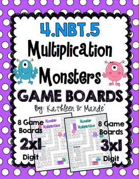 4.NBT.5: Monster Multiplication Game Boards