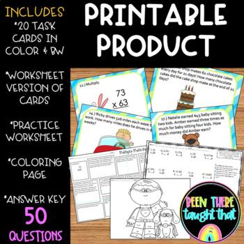 4.NBT.5 Multi-digit Multiplication Task Cards, Worksheet and Coloring Sheet