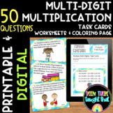 Multi-digit Multiplication Task Cards, Worksheet and Color