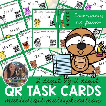 4NBT5 MultiDigit Multiplication 2 Digit by 2 Digit *QR* MATH TASK CARDS