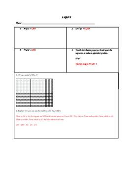 4.NBT.5 - Multiplication Assessment with Arrays
