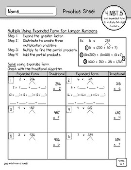 4.NBT.5 (1-Digit Factors): Area Model, Partial Products, Distributive Property