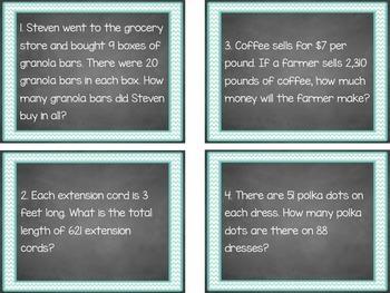4.NBT.5 Multiplication Word Problem Task Cards