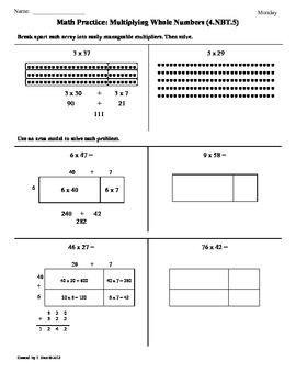 4.NBT.5) Multiplying Whole Numbers:4th Grade Common Core Math Worksheets