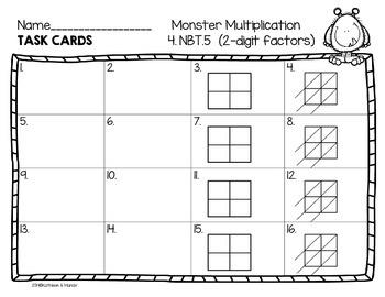 4.NBT.5 Task Cards (for 2x2 Digit Multiplication)