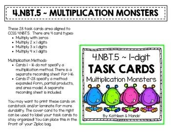 4.NBT.5: Task Cards (x1 Digit Multiplication)