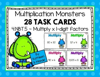 4.NBT.5: Task Cards (x1 Digit Multiplication)