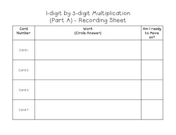 4.NBT.5(Part 2) 1digit by 3digit and 4digit Multiplication - Task Cards