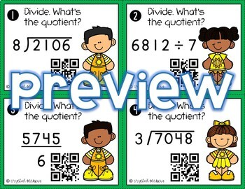 4NBT6 Dividing 4 Digit by 1 Digit (WITH Remainders) *QR* TASK CARDS