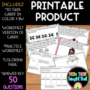 4.NBT.6 Division Task Cards, Worksheet, Coloring Sheet and Assessment!