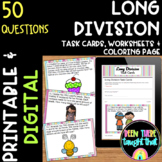 Division Task Cards, Worksheet, Coloring Sheet and Assessment!
