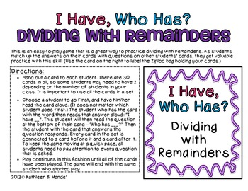 "4.NBT.6 ""I Have, Who Has"" Dividing with Remainders"