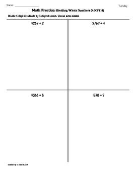 (4.NBT.6)Dividing Whole Numbers Part 4: 4th Grade Common Core Worksheets