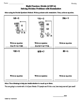 4.NBT.6)Dividing Whole Numbers Part 2: 4th Grade Common Core Worksheets