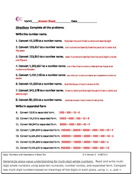 4.NBT.A.1, 4.NBT.A.2, 4.NBT.A.3 Fourth Grade Common Core Math Worksheets