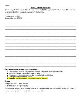 4NBTA1 Written Response Question with Rubric